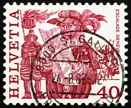 proclamation: SWITZERLAND - CIRCA 1979: a stamp printed in the Switzerland shows Herald Reading Proclamation and Men Scaling Wall, Escalade, Geneva, Folk Customs, circa 1979