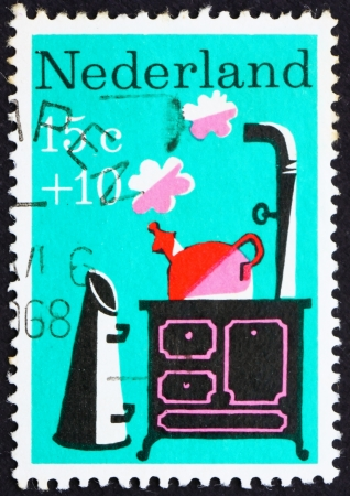 NETHERLANDS - CIRCA 1967: a stamp printed in the Netherlands shows Little Whistling Kettle, Nursery Rhyme, circa 1967 Stock Photo - 13626902