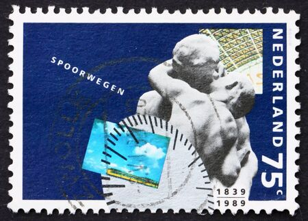 NETHERLANDS - CIRCA 1989: a stamp printed in the Netherlands shows Passengers, 150th Anniversary of Dutch Railways, circa 1989