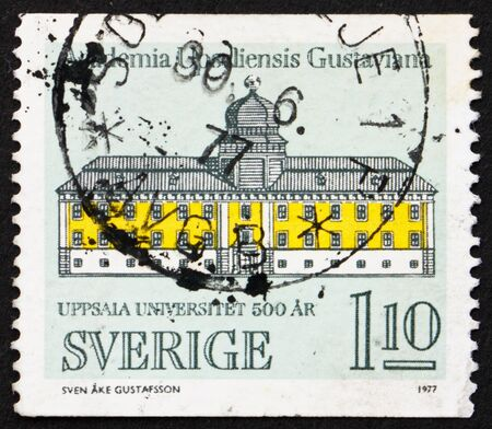 SWEDEN - CIRCA 1977: a stamp printed in the Sweden shows Gustavianum, Uppsala University, 500th Anniversary, circa 1977 Stock Photo - 13685519