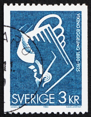filmmaker: SWEDEN - CIRCA 1979: a stamp printed in the Sweden shows Scene from Diagonal Symphony, 1924, by Viking Eggeling, Artist and Filmmaker, circa 1979