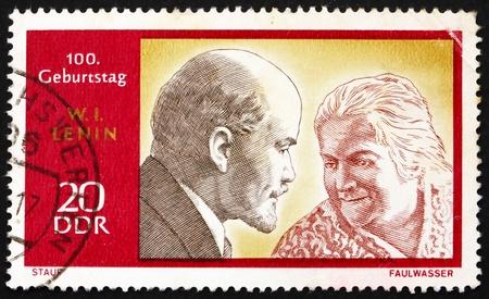 ddr: DDR - CIRCA 1970: a stamp printed in DDR shows Lenin and Clara Zetkin, circa 1970 Editorial