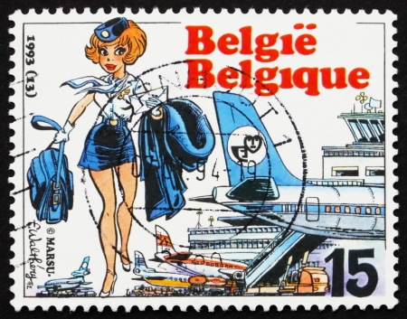 BELGIUM - CIRCA 1993: a stamp printed in the Belgium shows Air Hostess Natacha, by Francois Walthery, circa 1993