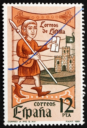 SPAIN - CIRCA 1981: a stamp printed in the Spain shows Mail Messenger, 14 Century, Woodcut, circa 1981