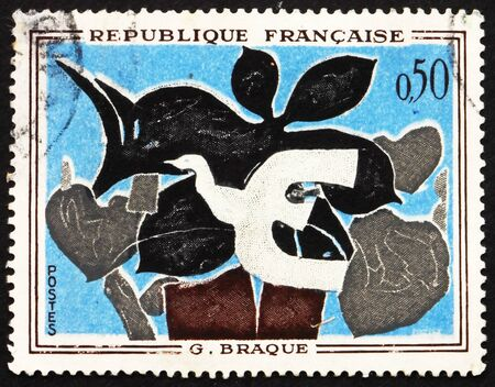 georges: FRANCE - CIRCA 1972: a stamp printed in the France shows The Messenger, Painting by Georges, Braque, circa 1972 Editorial