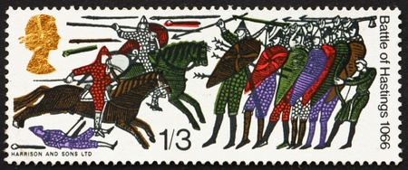 GREAT BRITAIN � CIRCA 1966: a stamp printed in the Great Britain shows Battle of Hastings, detail from Bayeux Tapestry, circa 1966