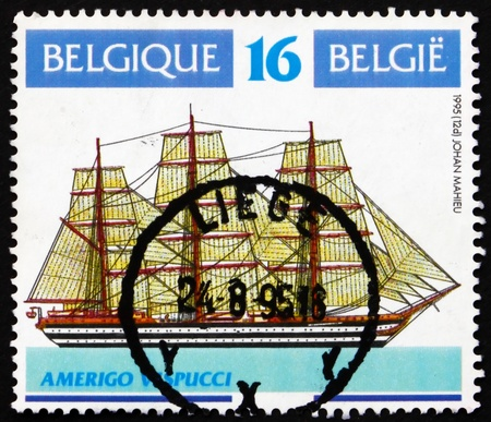 BELGIUM - CIRCA 1995: a stamp printed in the Belgium shows Amerigo Vespucci, Sailing Ship, circa 1995 Stock Photo - 13775705