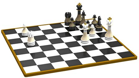 White attacks, white to move, chess concept, 3d render photo
