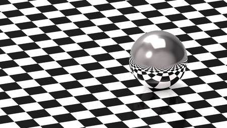 Metallic sphere on chess pattern, 3d render photo