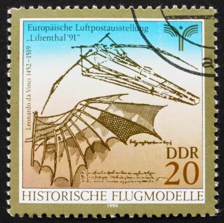 GDR - CIRCA 1990: a stamp printed in GDR shows Flying Machine Designed by Leonardo da Vinci, circa 1990