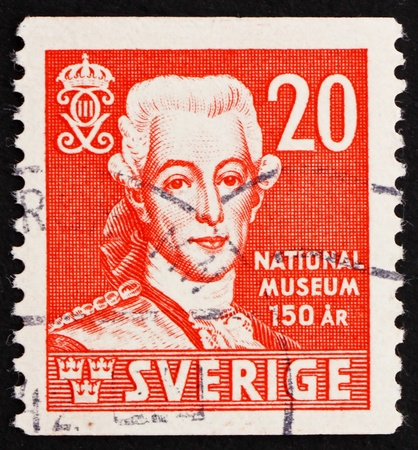 SWEDEN - CIRCA 1942: a stamp printed in the Sweden shows King Gustav III, King of Sweden, circa 1942 Stock Photo - 13824442