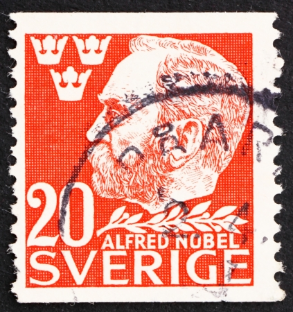 SWEDEN - CIRCA 1946: a stamp printed in the Sweden shows Alfred Nobel, Inventor and Philanthropist, 50th Anniversary of the Death of Nobel, circa 1946 Stock Photo - 13824437