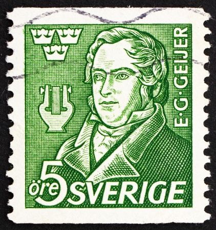 gustaf: SWEDEN - CIRCA 1947: a stamp printed in the Sweden shows Erik Gustaf Geijer, Historian, Philosopher and Poet, Centenary of the Death, circa 1947 Editorial