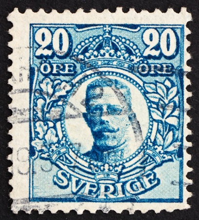 gustaf: SWEDEN - CIRCA 1911: a stamp printed in the Sweden shows King Gustaf V, King of Sweden, circa 1911 Editorial