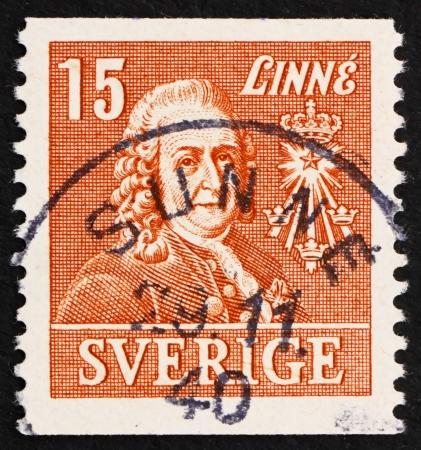 botanist: SWEDEN - CIRCA 1939: a stamp printed in the Sweden shows Carl von Linne, Linnaeus, Botanist, Zoologist and Physician, circa 1939