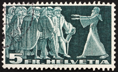 confederation: SWITZERLAND - CIRCA 1938: a stamp printed in the Switzerland shows Diet of Stans, 1481, Message from the Hermit Nikklaus von Flue, circa 1938