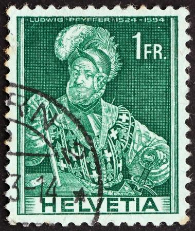 SWITZERLAND - CIRCA 1941: a stamp printed in the Switzerland shows Ludwig Pfyffer, Swiss Military Leader, circa 1941