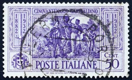 calatafimi: ITALY - CIRCA 1932: a stamp printed in the Italy shows Garibaldi at Battle of Calatafimi, 50th Anniversary of the Death of Giuseppe Garibaldi, Patriot, circa 1932