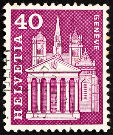 SWITZERLAND - CIRCA 1960: a stamp printed in the Switzerland shows St. Pierre Cathedral, Geneva, circa 1960 Stock Photo - 13887517