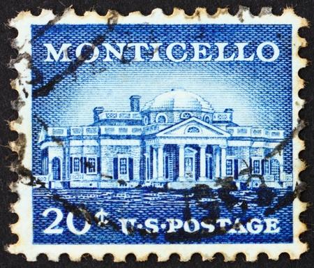 UNITED STATES OF AMERICA - CIRCA 1956: a stamp printed in the United States of America shows Monticello, estate of Thomas Jefferson, circa 1956