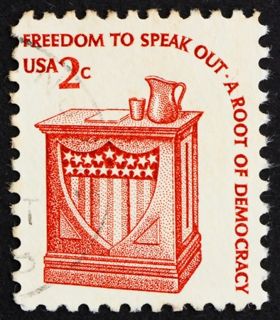 UNITED STATES OF AMERICA - CIRCA 1975: a stamp printed in the USA shows Speaker�s Stand, circa 1975 Stock Photo - 14139567