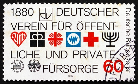 public welfare: GERMANY - CIRCA 1980: a stamp printed in the Germany shows German Association for Public and Private Social Welfare, Centenary, circa 1980 Editorial