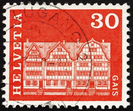 gabled: SWITZERLAND - CIRCA 1968: a stamp printed in the Switzerland shows Gabled Houses, Gais, Switzerland, circa 1968 Editorial