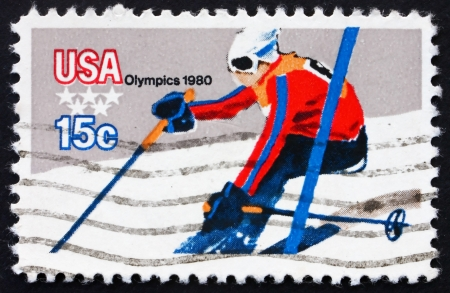 UNITED STATES OF AMERICA - CIRCA 1980: a stamp printed in the USA shows Downhill Skiing, 13th Winter Olympic Games, Lake Placid, New York, USA, circa 1980