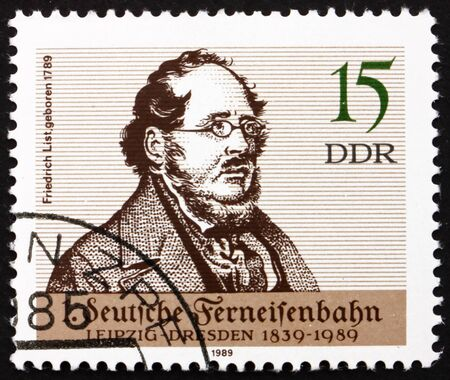 theorist: GDR - CIRCA 1989: a stamp printed in GDR shows Friedrich List, Economist and Original European Unity Theorist, circa 1989