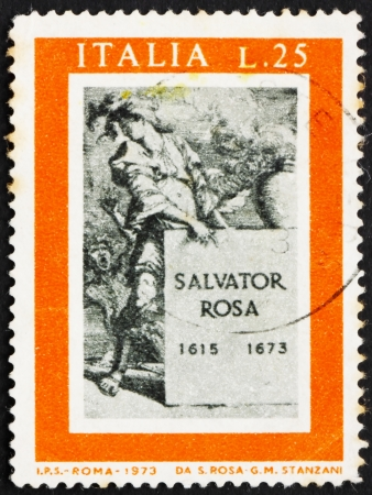 printmaker: ITALY - CIRCA 1973: a stamp printed in the Italy shows Title Page for Book about Salvator Rosa, 75th International Fair, Verona, circa 1973