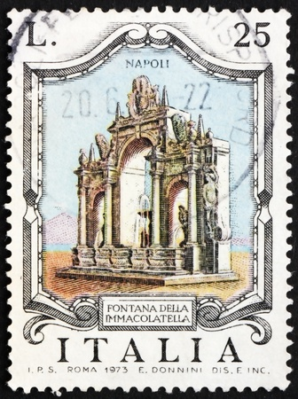 ITALY - CIRCA 1973: a stamp printed in the Italy shows Immacolatella Fountain, Naples, Italy, circa 1973 Stock Photo - 14143142