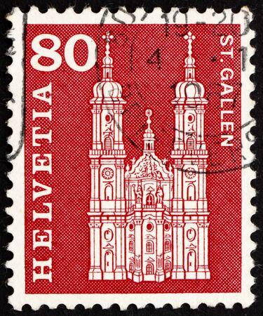 SWITZERLAND - CIRCA 1960: a stamp printed in the Switzerland shows Cathedral, St. Gallen, Abbey of St. Gall, Switzerland, circa 1960