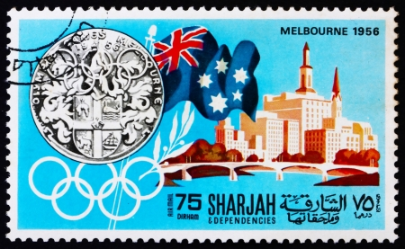 SHARJAH - CIRCA 1968: a stamp printed in the Sharjah UAE shows Olympic Games Melbourne 1956, Australia, History of Olympic Games, circa 1968 Stock Photo - 14146319