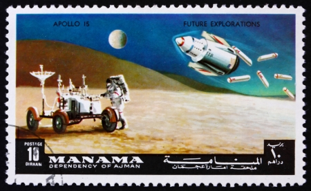 MANAMA - CIRCA 1972: a stamp printed in the Manama, Bahrain shows Astronaut and Lunar Rover, Apollo 15, Mission to the Moon, circa 1972 Stock Photo - 14146318