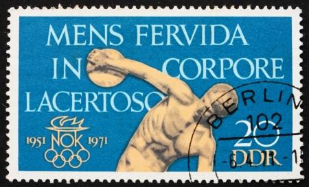 GDR - CIRCA 1971: a stamp printed in GDR shows Discobolus, A Fiery Spirit in a Muscular Body, circa 1971