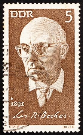 johannes: GDR - CIRCA 1971: a stamp printed in GDR shows Johannes R. Becher, Politician, Novelist and Poet, circa 1971 Editorial