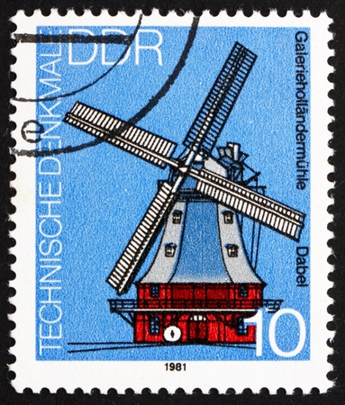 GDR - CIRCA 1981: a stamp printed in GDR shows Windmill, Dabel, Germany, circa 1981