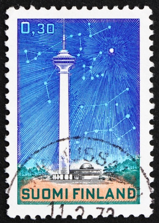 polaris: FINLAND - CIRCA 1972: a stamp printed in the Finland shows Telecommunications Tower and Stars, Polaris and Circumpolar Constellations, circa 1972