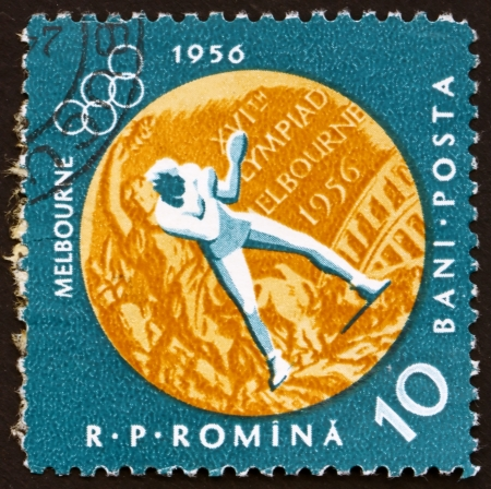 ROMANIA - CIRCA 1961: a stamp printed in the Romania shows Boxing, Summer Olympic sports, Melbourne 56, circa 1961 Stock Photo - 14200467