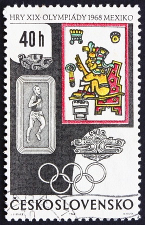 sanctification: CZECHOSLOVAKIA - CIRCA 1968: a stamp printed in the Czechoslovakia shows Runner and The Sanctification of Quetzalcoatl, Summer Olympic sports, Mexico 68, circa 1968