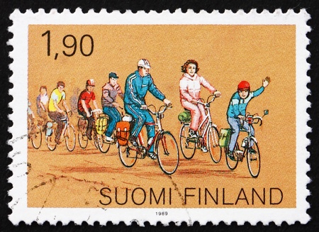FINLAND - CIRCA 1989: a stamp printed in the Finland shows Cycling, Sports for the Family, circa 1989