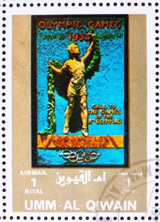 UMM AL-QUWAIN - CIRCA 1972: a stamp printed in the Umm al-Quwain shows Los Angeles 1932, California, USA, Olympic Games of the past, circa 1972