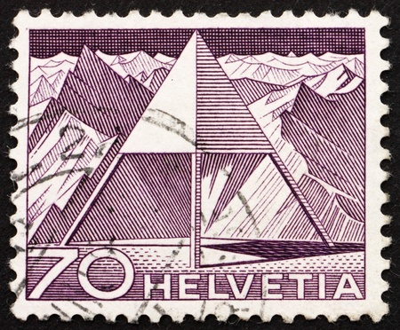 SWITZERLAND - CIRCA 1949: a stamp printed in the Switzerland shows Triangulation Point, circa 1949 Stock Photo - 14335338