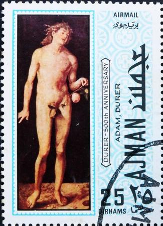 durer: AJMAN - CIRCA 1970: un francobollo stampato in Ajman mostra Adamo, dipinto di Albrecht Durer, 500 � anniversario della nascita, circa 1970
