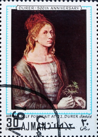 albrecht: AJMAN - CIRCA 1970: a stamp printed in the Ajman shows Self Portrait at 22, Painting by Albrecht Durer, 500th Anniversary of the Birth, circa 1970 Editorial