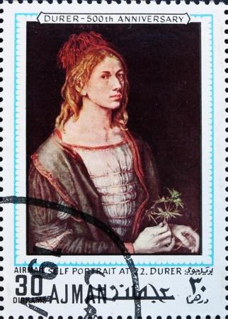 durer: AJMAN - CIRCA 1970: un timbro stampato in Ajman mostra Autoritratto a 22 anni, Pittura di Albrecht Durer, 500 � anniversario della nascita, circa 1970