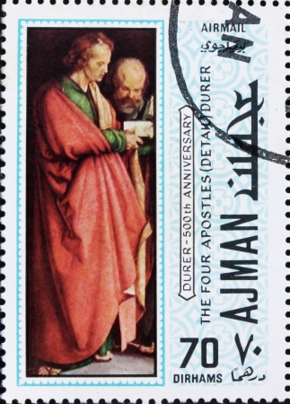 albrecht: AJMAN - CIRCA 1970: a stamp printed in the Ajman shows The Four Apostles, Detail, Painting by Albrecht Durer, 500th Anniversary of the Birth, circa 1970 Editorial