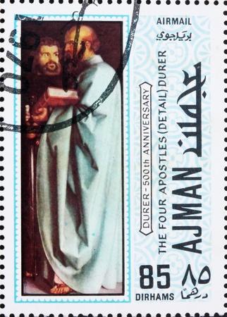 durer: AJMAN - CIRCA 1970: un francobollo stampato in Ajman mostra i quattro Apostoli, dettaglio, dipinto di Albrecht Durer, 500 � anniversario della nascita, circa 1970