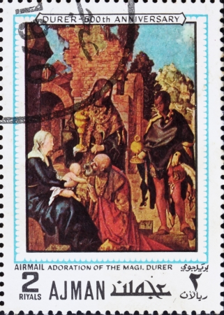 durer: AJMAN - CIRCA 1970: a stamp printed in the Ajman shows Adoration of the Magi, Painting by Albrecht Durer, 500th Anniversary of the Birth, circa 1970 Editorial