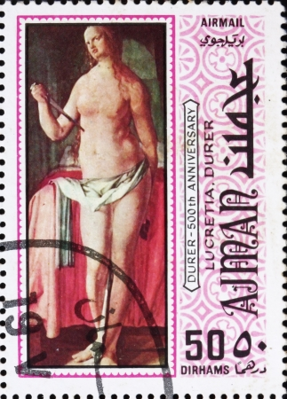 durer: AJMAN - CIRCA 1970: a stamp printed in the Ajman shows Lucretia, Painting by Albrecht Durer, 500th Anniversary of the Birth, circa 1970